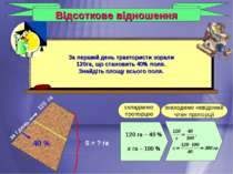 Відсоткове відношення 120 га – 40 % х га – 100 % складаємо пропорцію знаходим...