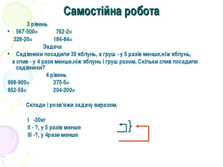 Самостійна робота 3 рівень 567-500= 762-2= 328-20= 184-84= Задача Садівники п...