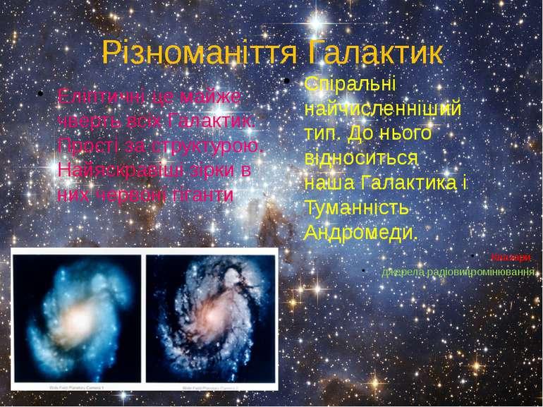 Різноманіття Галактик Еліптичні це майже чверть всіх Галактик. Прості за стру...