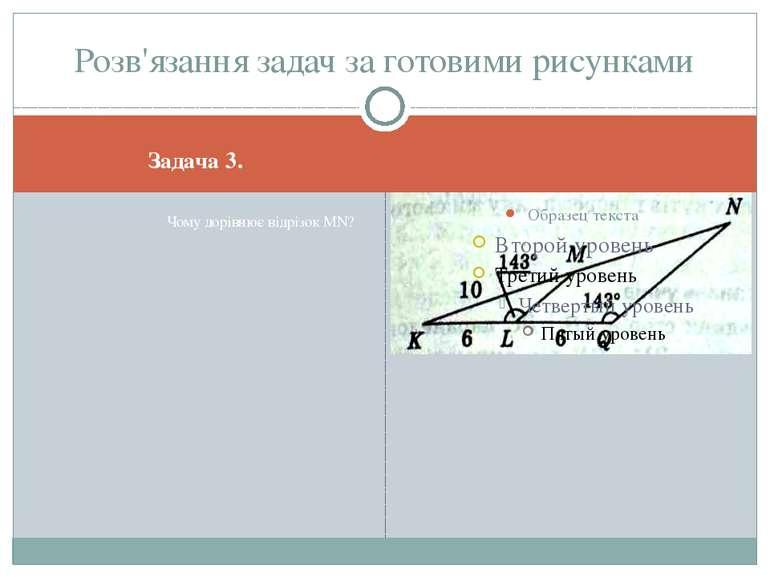 Задача 3. Чому дорівнює відрізок MN? Розв'язання задач за готовими рисунками