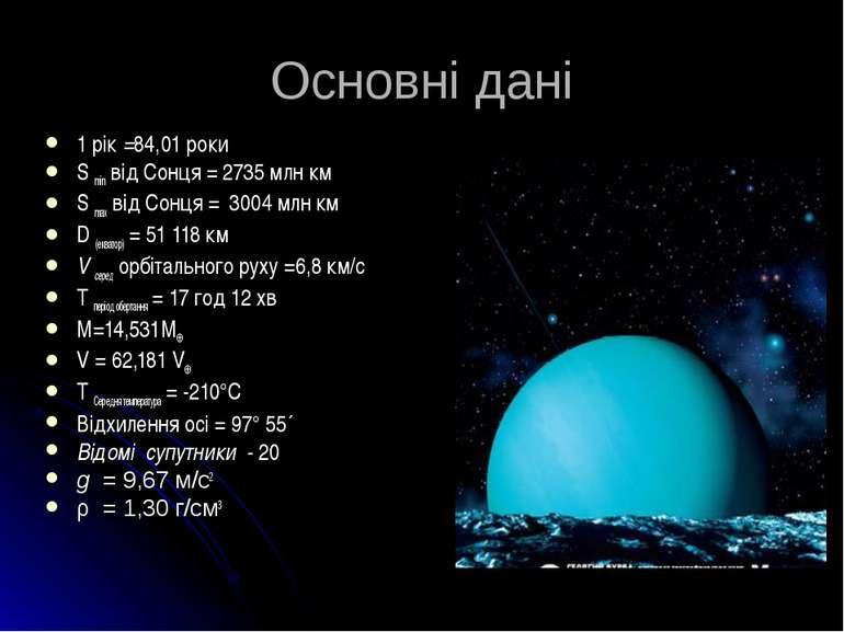 Основні дані 1 рік =84,01 роки S min від Сонця = 2735 млн км S max від Сонця ...