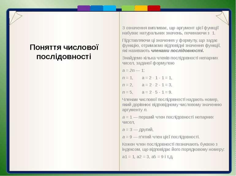 Оскільки аргументом послідовності є лише натуральні числа, то її графіком є о...