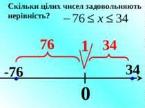 0 -76 34 1 76 34 Скільки цілих чисел задовольняють нерівність?