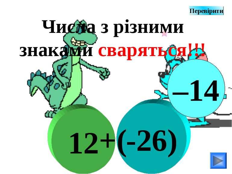 -26) 12 +( Числа з різними знаками сваряться!!! –14 Перевірити