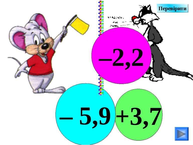 +3,7 – 5,9 –2,2 Перевірити
