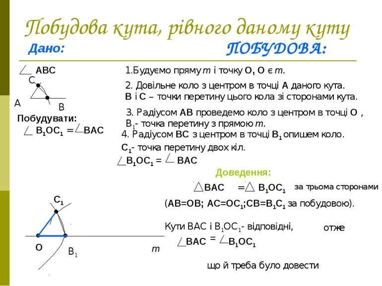 Побудова кута, рівного даному куту Дано: АВС А В С Побудувати: В1ОС1 = ВАС ПО...