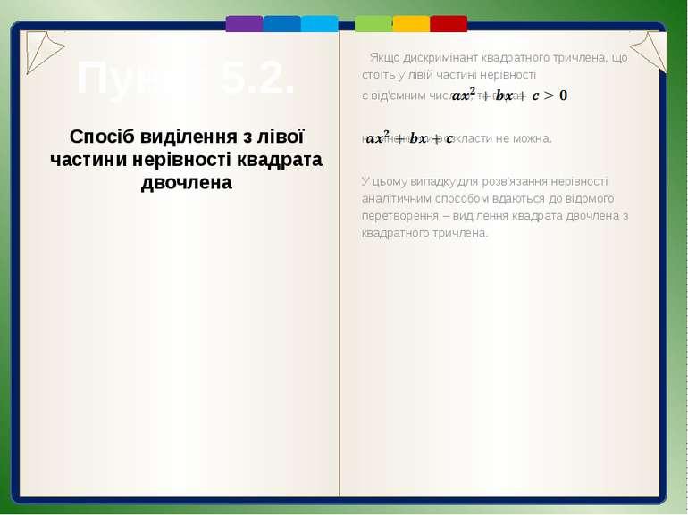 Пункт 5.2. Розв'язання Спосіб виділення з лівої частини нерівності квадрата д...
