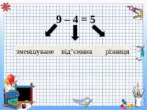 9 – 4 = 5 зменшуване від'ємник різниця