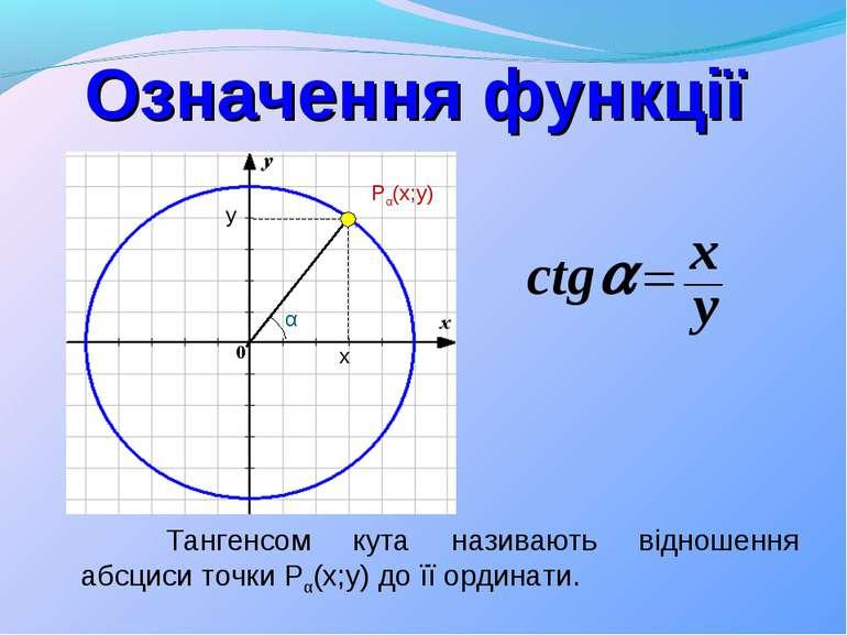 Означення функції Тангенсом кута називають відношення абсциси точки Pα(x;y) д...