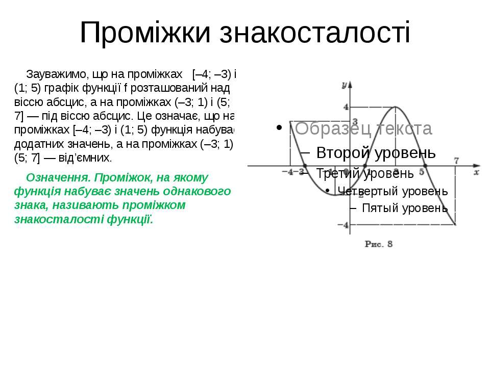 Проміжки знакосталості Зауважимо, що на проміжках [–4; –3) і (1; 5) графік фу...