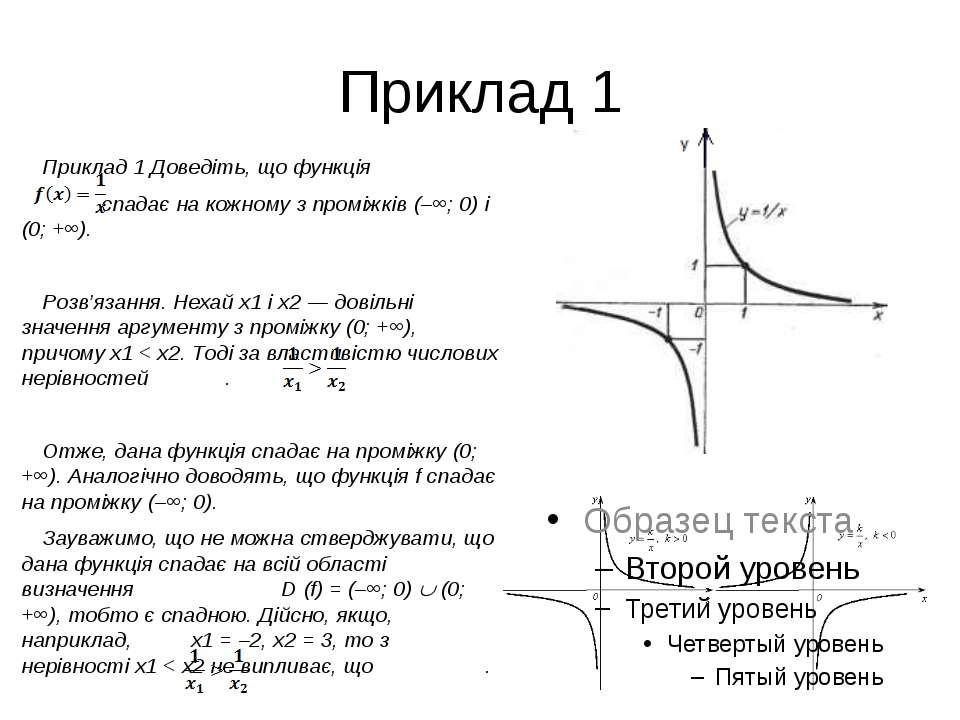 Приклад 1 Приклад 1 Доведіть, що функція спадає на кожному з проміжків (–∞; 0...