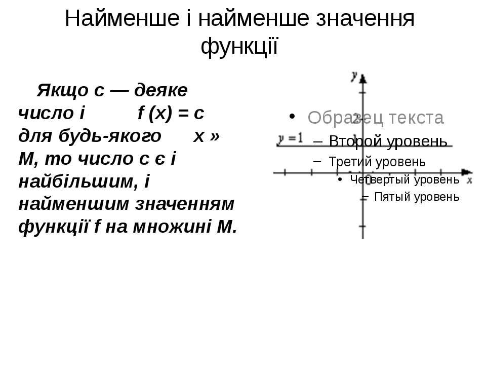 Найменше і найменше значення функції Якщо c — деяке число і f (x) = c для буд...