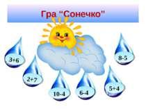 """Гра """"Сонечко"""" 2+7 3+6 6-4 5+4 10-4 8-5"""