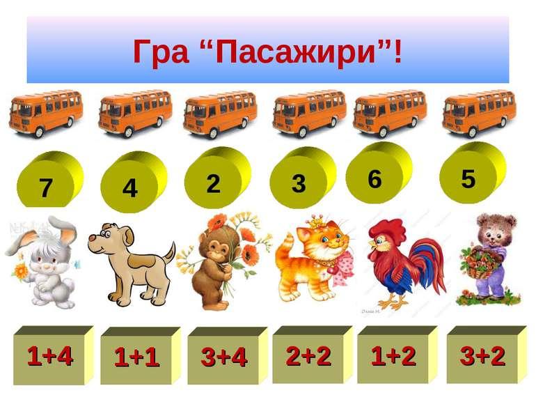 "Гра ""Пасажири""! 7 4 2 3 6 5 1+4 1+1 3+4 2+2 1+2 3+2"
