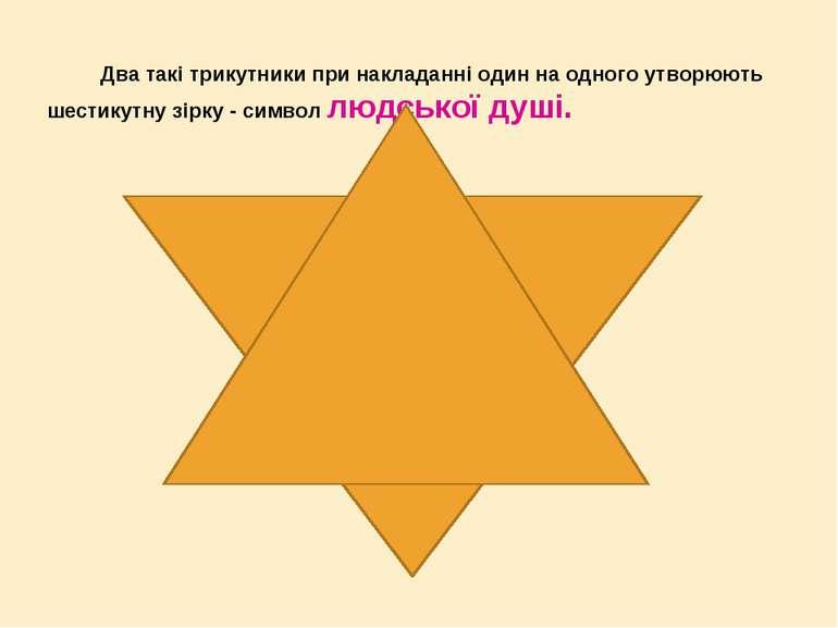 Два такі трикутники при накладанні один на одного утворюють шестикутну зірку ...