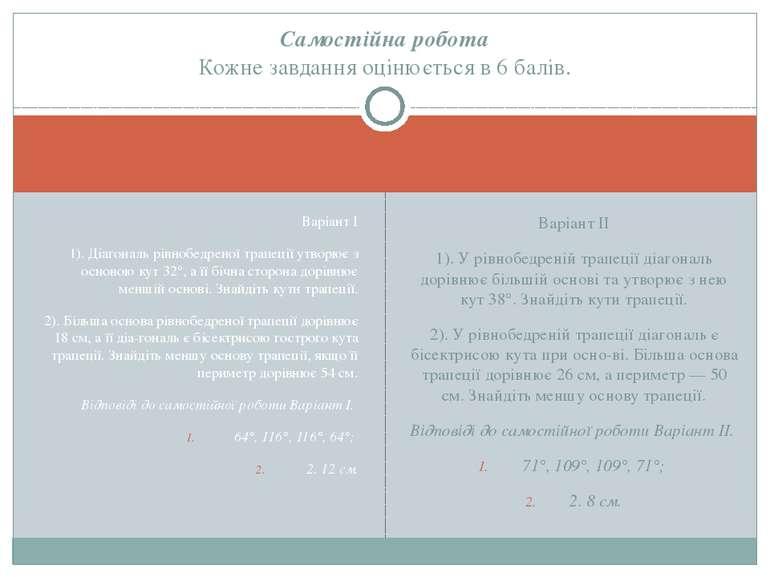 Варіант І 1). Діагональ рівнобедреної трапеції утворює з основою кут 32°, а ї...