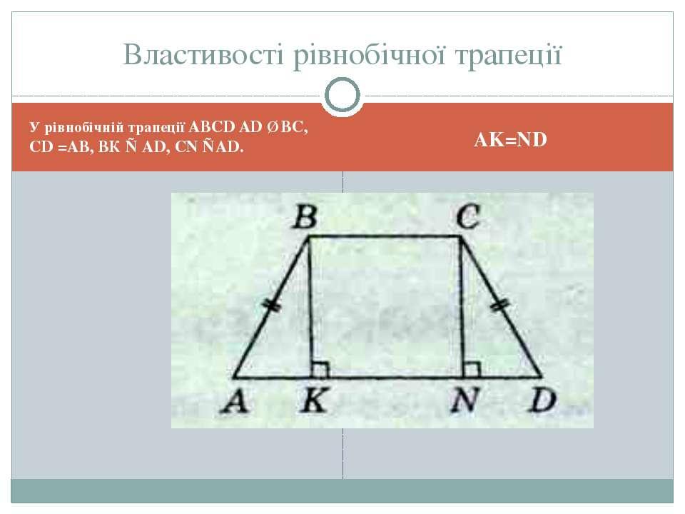 У рівнобічній трапеції ABCD AD ∥ ВС, CD =AВ, ВК ⊥ AD, CN ⊥AD. AK=ND Властивос...