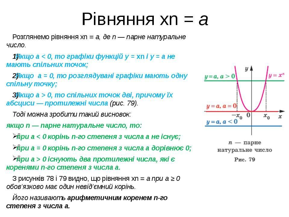 Рівняння xn = a Розглянемо рівняння xn = a, де n — парне натуральне число. Як...