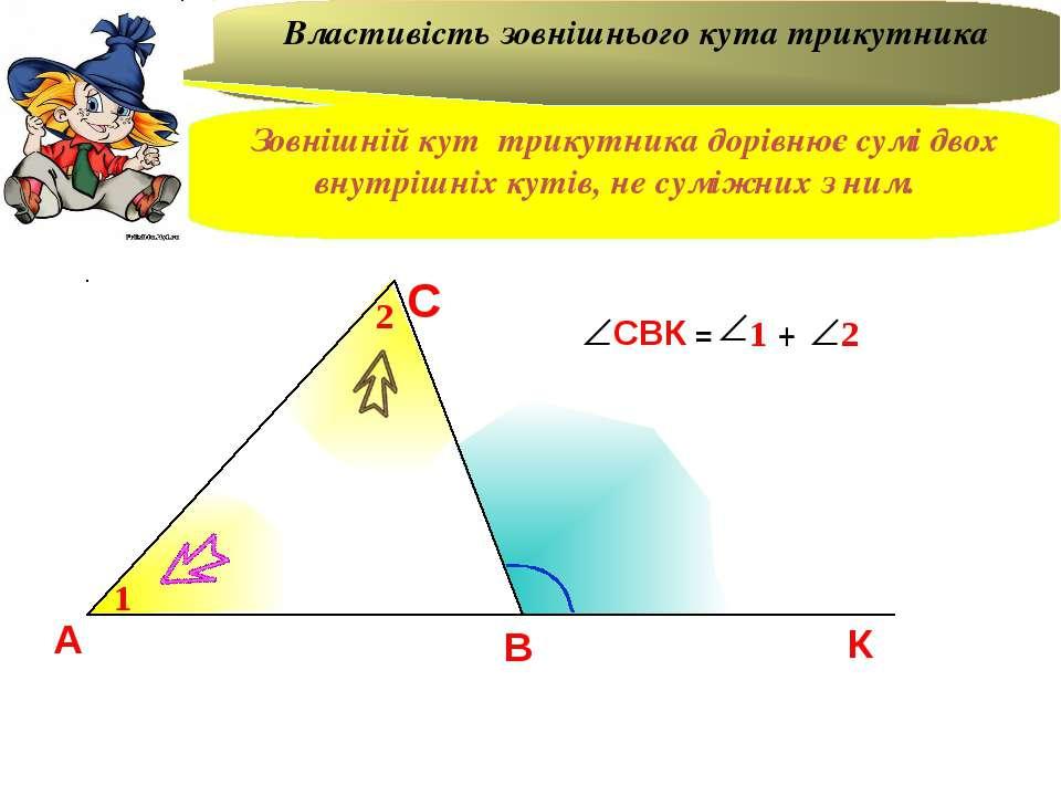 А В С К 1 2 = + Властивість зовнішнього кута трикутника Зовнішній кут трикутн...