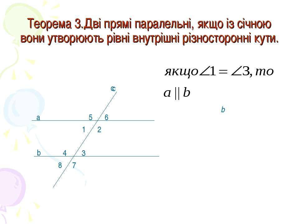 Теорема 3.Дві прямі паралельні, якщо із січною вони утворюють рівні внутрішні...