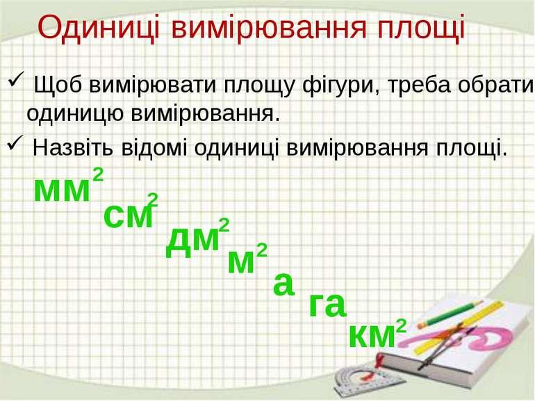 Щоб вимірювати площу фігури, треба обрати одиницю вимірювання. Назвіть відомі...