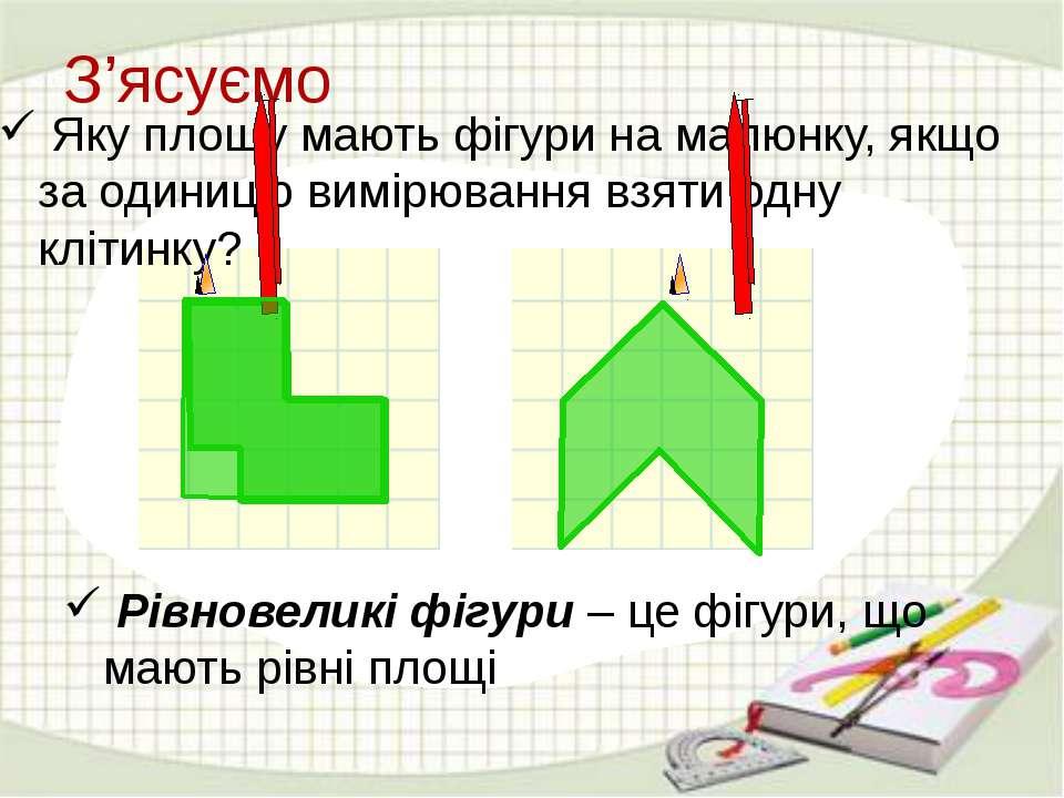 З'ясуємо Яку площу мають фігури на малюнку, якщо за одиницю вимірювання взяти...