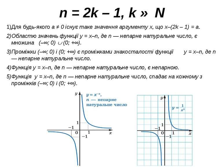 n = 2k – 1, k ∈ N Для будь-якого a ≠ 0 існує таке значення аргументу x, що x–...