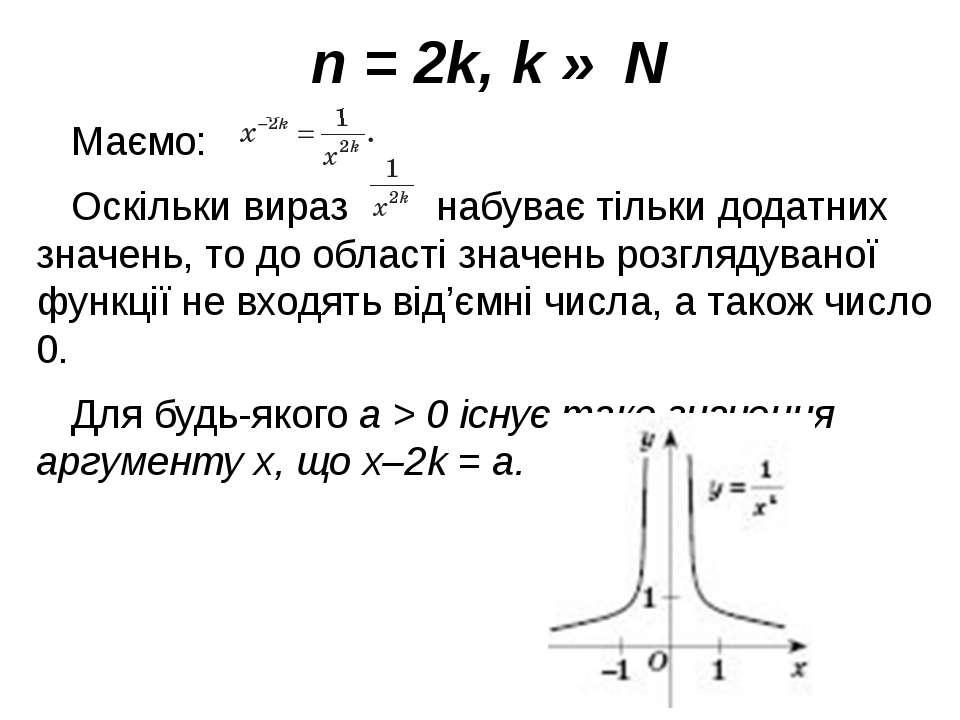 n = 2k, k ∈ N Маємо: Оскільки вираз набуває тільки додатних значень, то до об...
