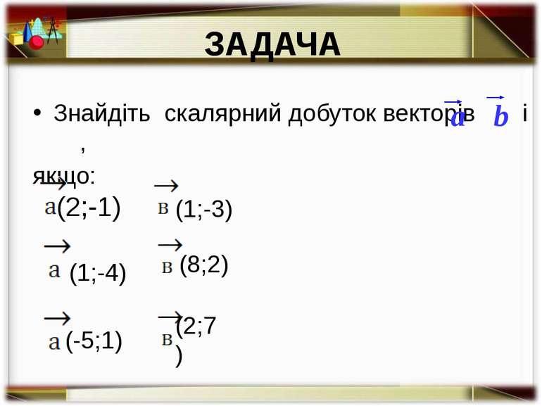 ЗАДАЧА Знайдіть скалярний добуток векторів і , якщо: a b (2;-1) (1;-3) (1;-4)...