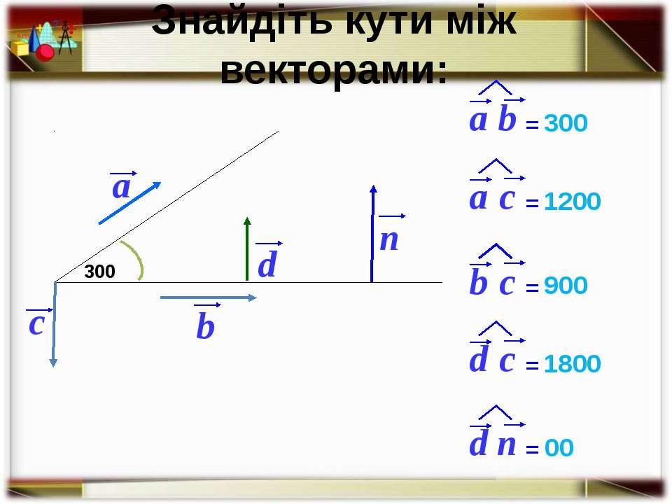 Знайдіть кути між векторами: b c 300 300 1200 900 1800 00 a d n = = = = =