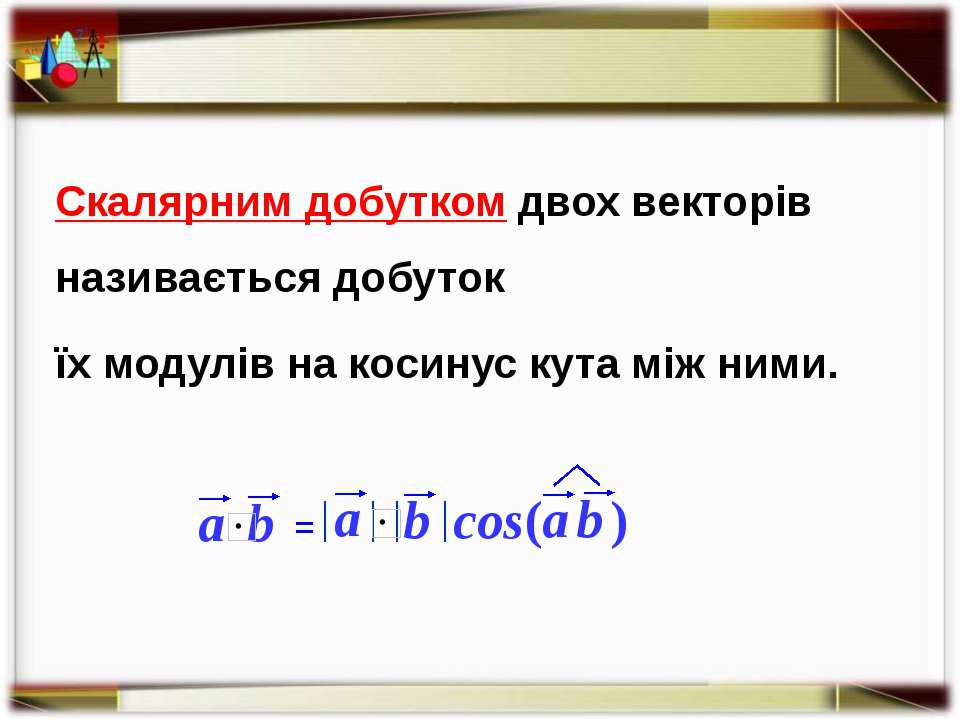 Скалярним добутком двох векторів називається добуток їх модулів на косинус ку...