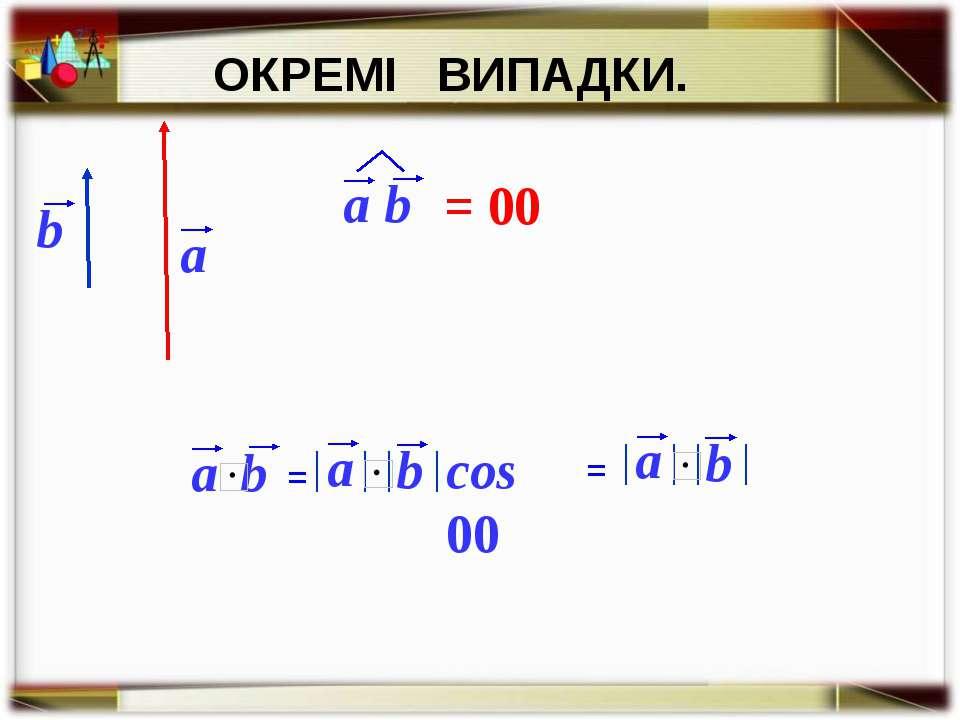 ОКРЕМІ ВИПАДКИ. = 00 cos 00 =