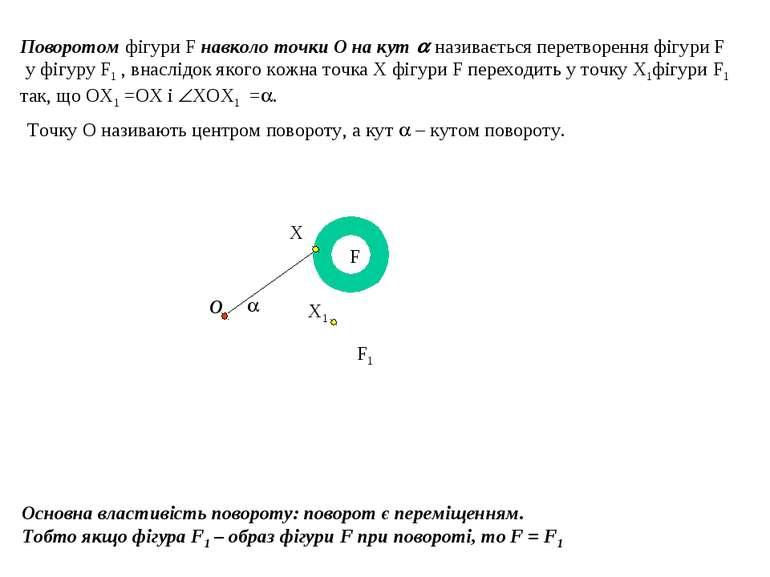 Поворотом фігури F навколо точки О на кут називається перетворення фігури F у...