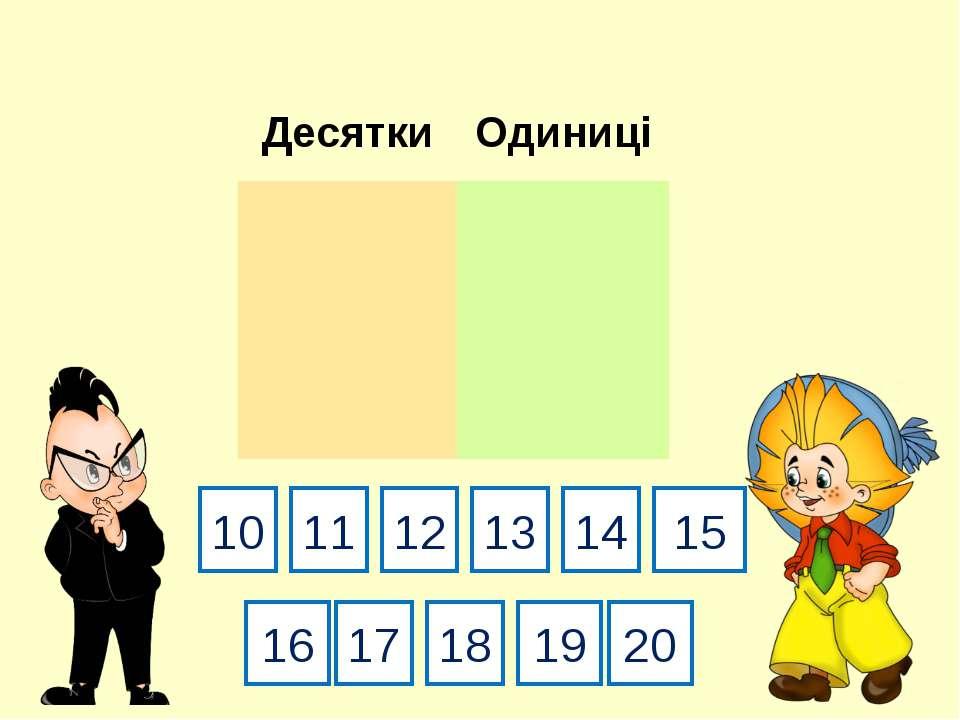 10 19 13 20 11 16 15 18 14 17 12 Десятки Одиниці