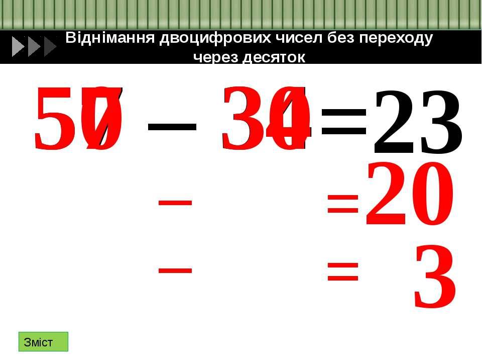 Усне додавання двоцифрових чисел з переходом через десяток 54+27= 54 50 4 27 ...