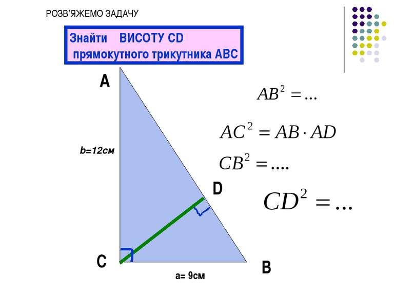 А С В b=12см a= 9см Знайти ВИСОТУ CD прямокутного трикутника АВС D РОЗВ'ЯЖЕМО...
