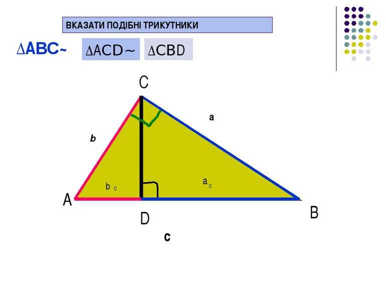 В D b a c b C a C ВКАЗАТИ ПОДІБНІ ТРИКУТНИКИ А С ∆AВС~ ∆AСD~ ∆СВD