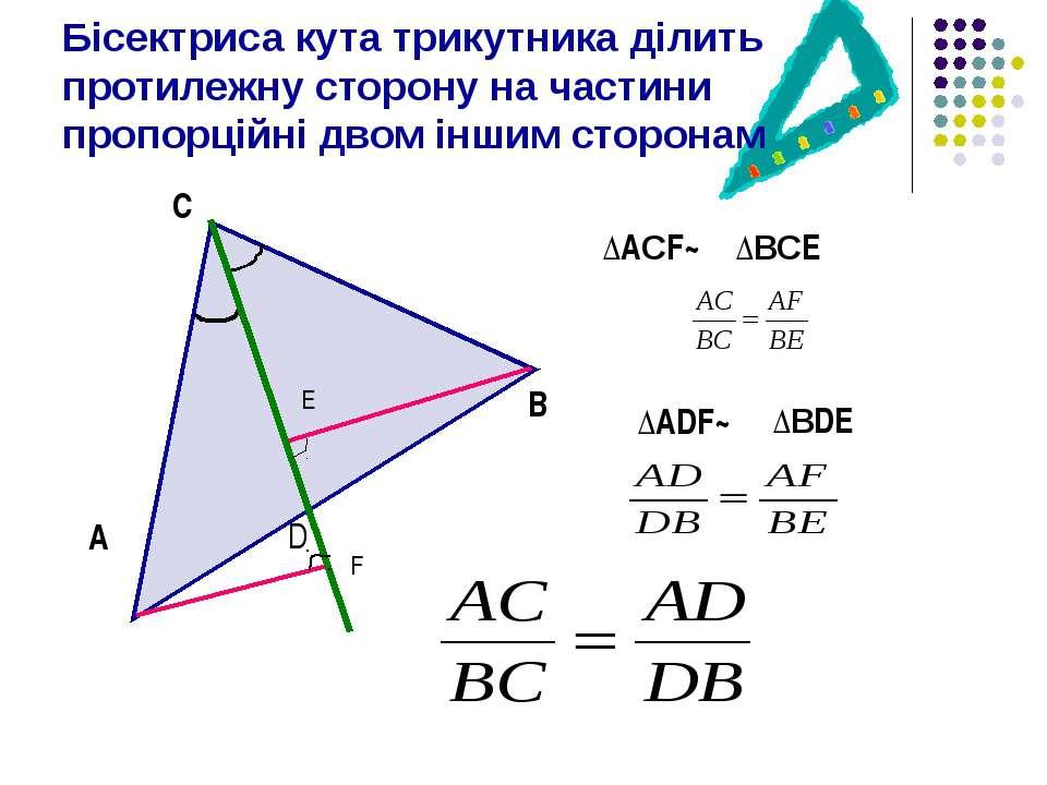 Бісектриса кута трикутника ділить протилежну сторону на частини пропорційні д...