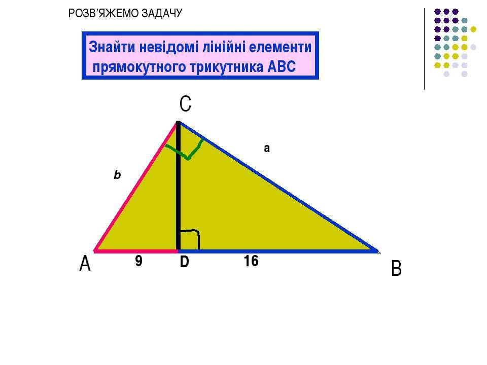 А С В b a 9 16 Знайти невідомі лінійні елементи прямокутного трикутника АВС D...