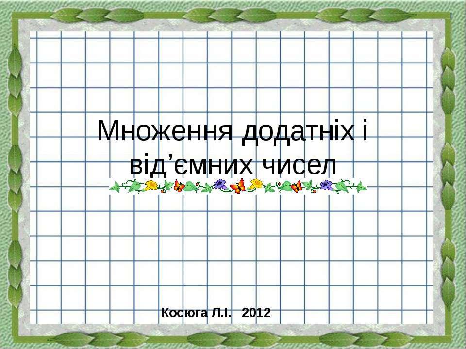 Множення додатніх і від'ємних чисел Косюга Л.І. 2012