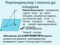 А В С α Перпендикуляром, проведеним з даної точки до даної площини, називаєть...