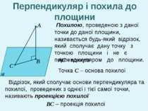 А В С α Похилою, проведеною з даної точки до даної площини, називається будь-...