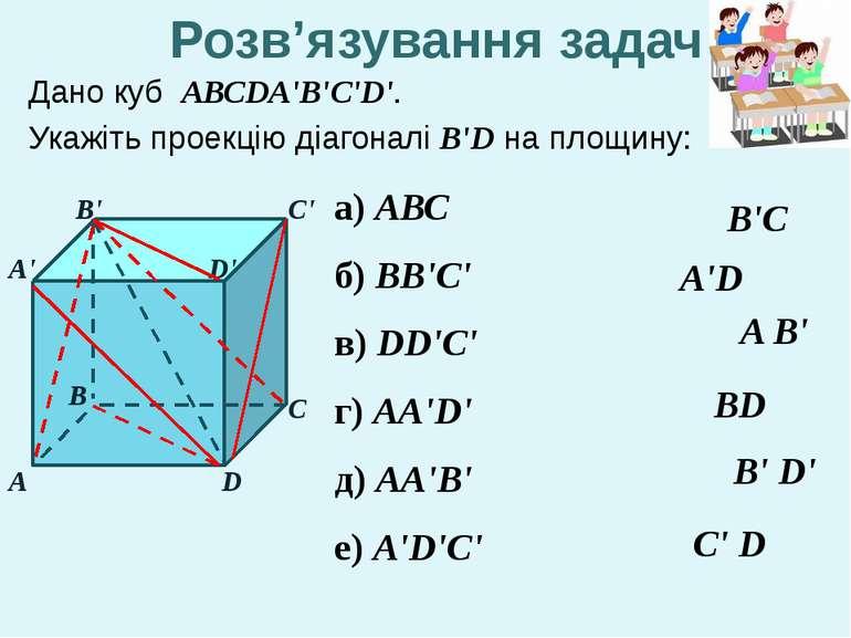 Дано куб АВСDA'B'C'D'. Укажіть проекцію діагоналі B'D на площину: А В С С' D ...