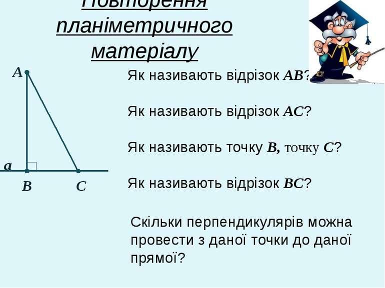 Повторення планіметричного матеріалу Як називають відрізок АВ? А В С а Як наз...