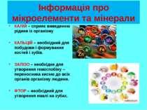 Інформація про мікроелементи та мінерали КАЛІЙ – сприяє виведенню рідини із о...