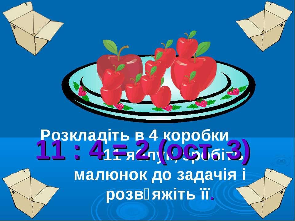 Розкладіть в 4 коробки 11 яблук, зробіть малюнок до задачія і розв᾿яжіть її. ...