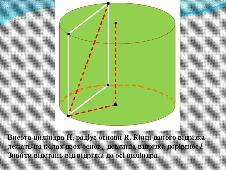Висота циліндра Н, радіус основи R. Кінці даного відрізка лежать на колах дво...