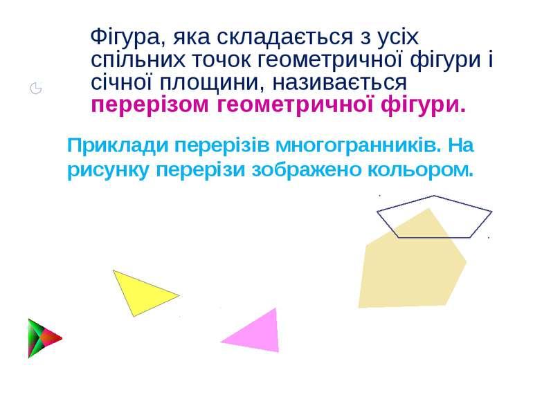 Фігура, яка складається з усіх спільних точок геометричної фігури і січної пл...