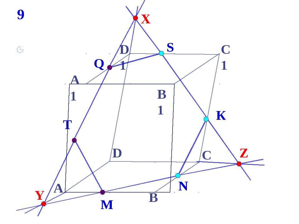 А В С А1 D1 С1 B1 S D T К N M Q 9 X Y Z * Построить сечение параллелепипеда, ...