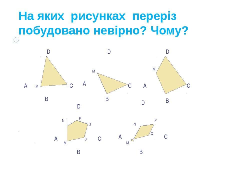На яких рисунках переріз побудовано невірно? Чому? B А А А А А D D D D D B B ...